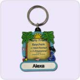 key chain picture frame with tropical design