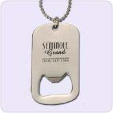 silver dog tag with bottle opener