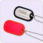 black and red dog tag