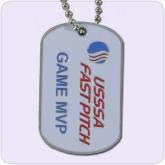 silver dog tag with text