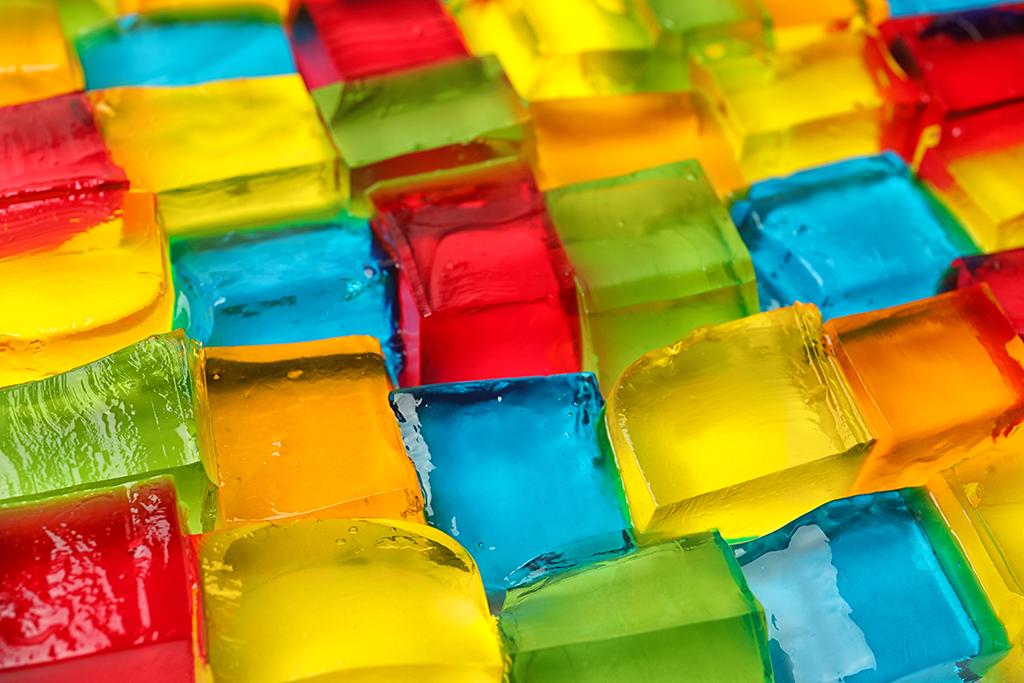 colorful jello cubes