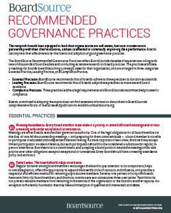 boardsource governance practices