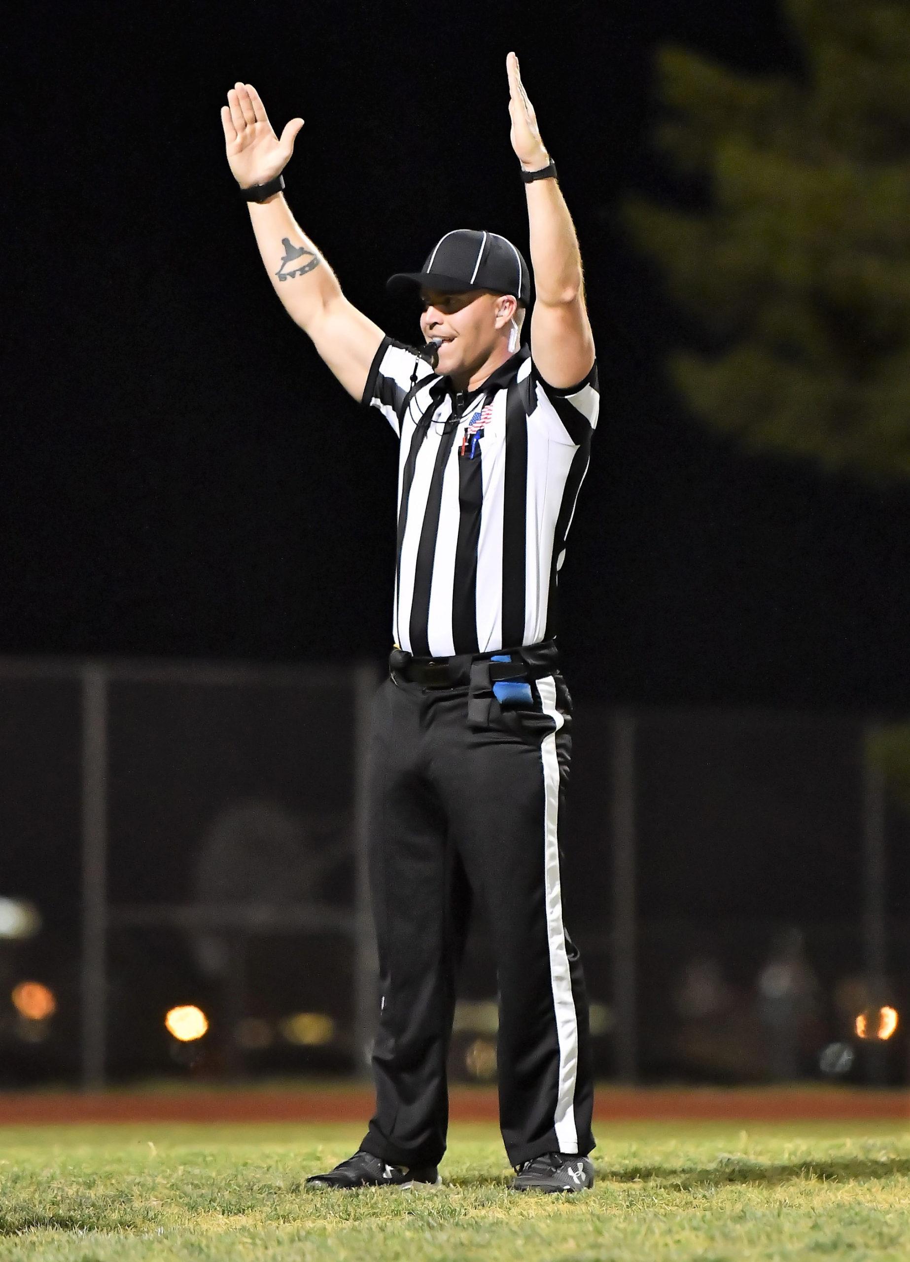 An SNOA Football Official working a High School Football Game