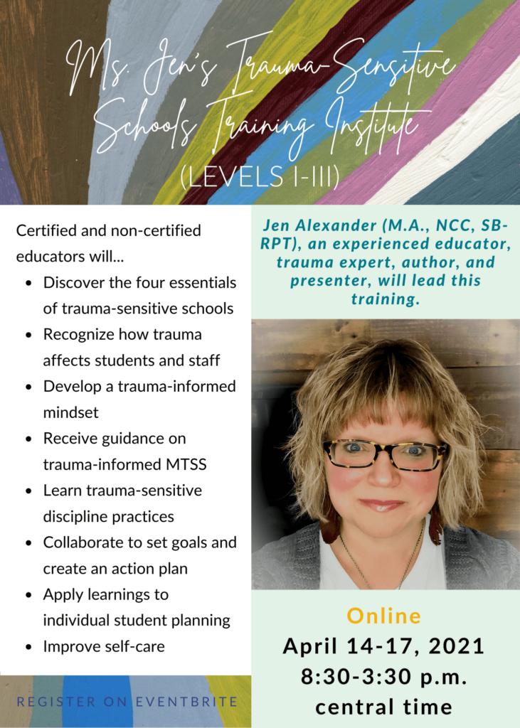 Ms. Jen's Training Flier for April 2021