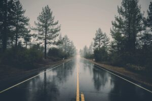 Wet highway leading somewhere