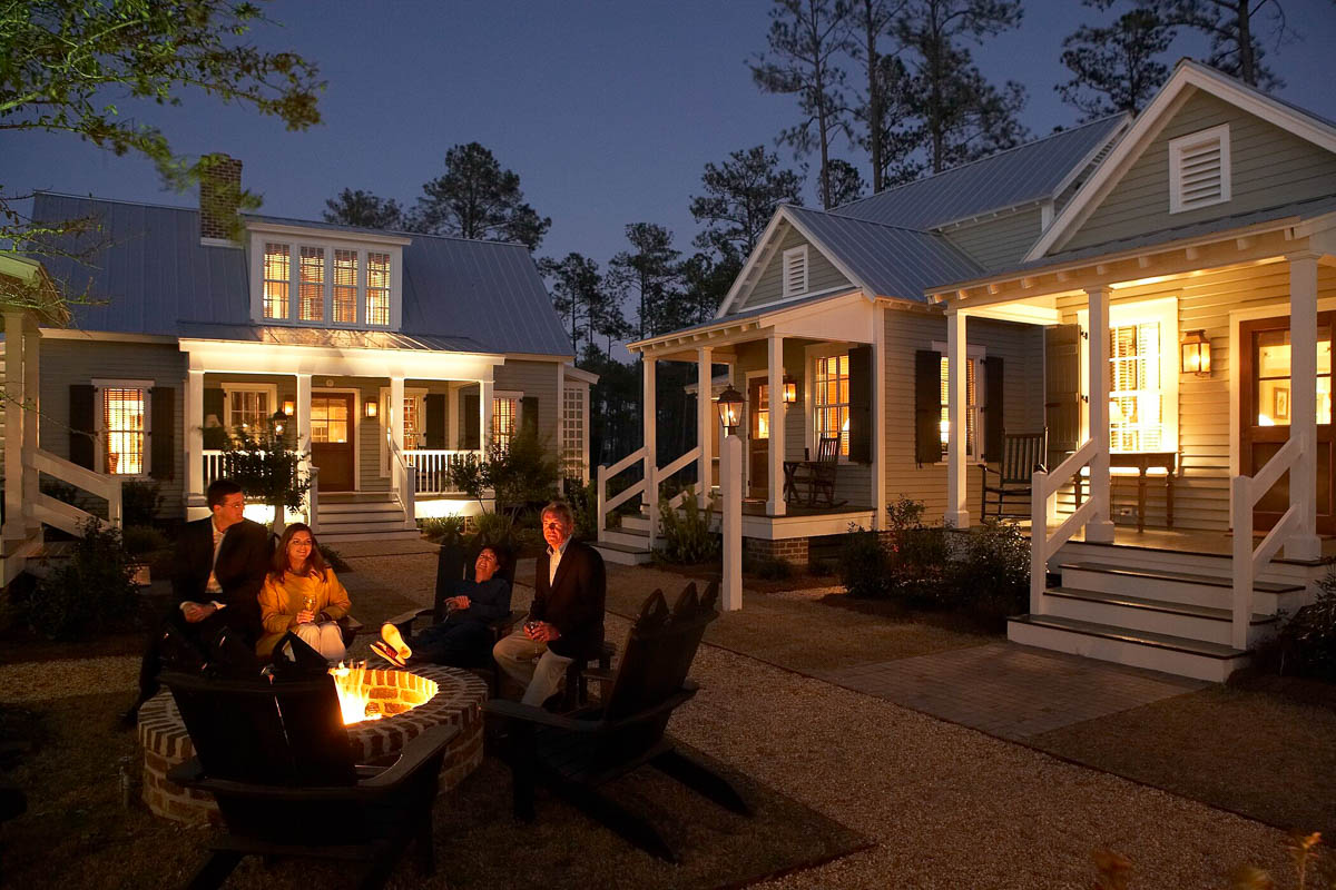 Guest Cottages - Firepit and Porches at Night_4x3_60