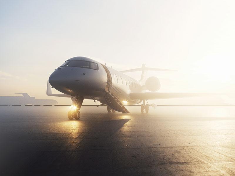 Private jet during sunrise