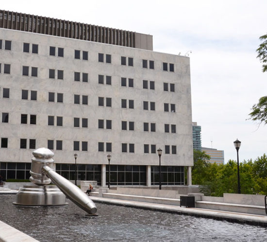 Ohio Supreme Court photo showing the building and gavel in the fountain