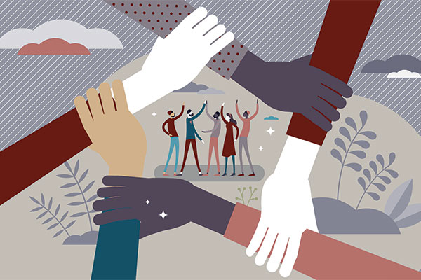 Diversity at Perez Morris represented by an illustration with hands together