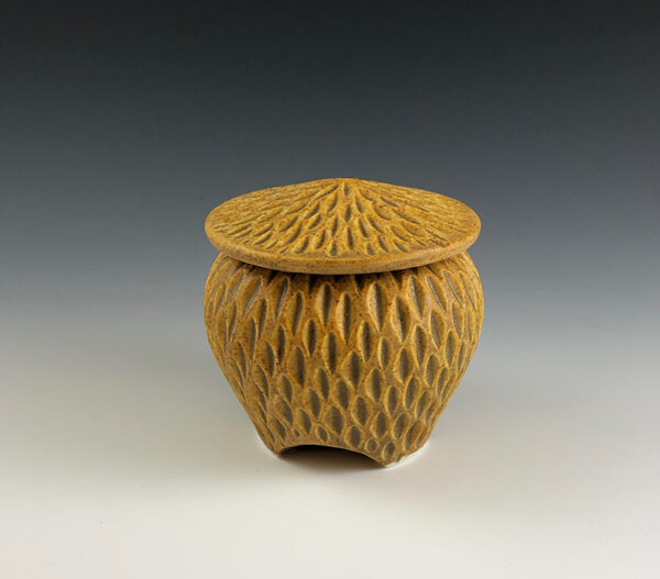 Carved porcelain small covered jar by Dyann Myers. Wheel-thrown with matte gold glaze.