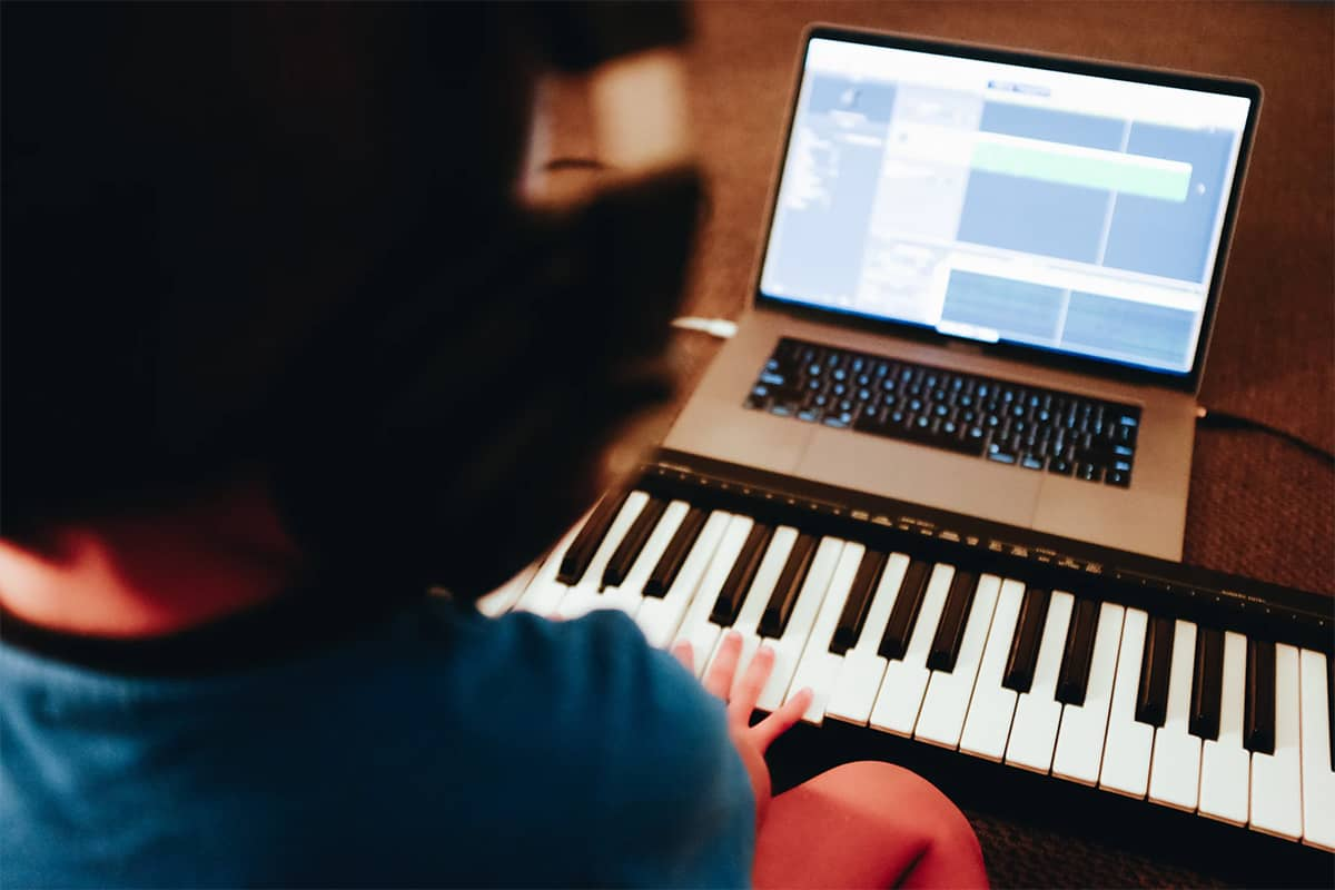 Practicing piano at home