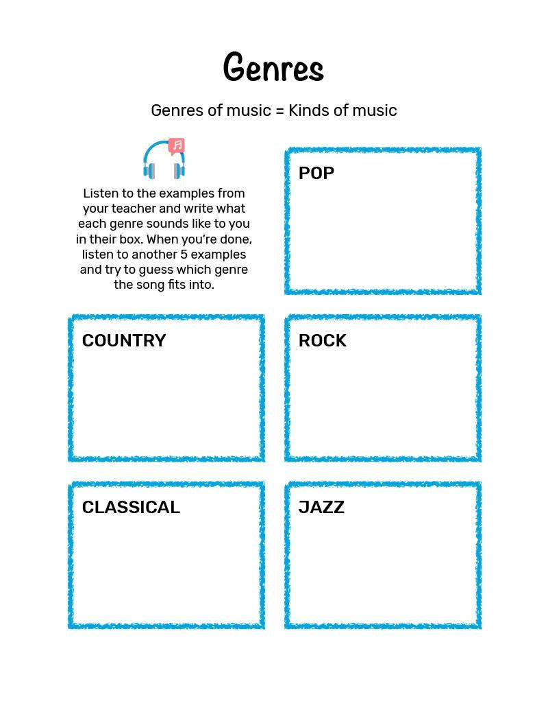 Mini Music Makers Workbook - Genres