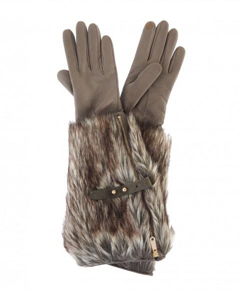 Faux Fur Long Leather Gloves