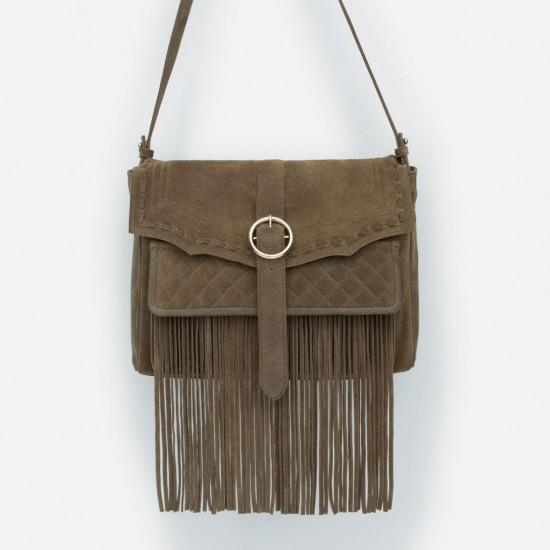 Zara Leather Messenger Bag with Fringes