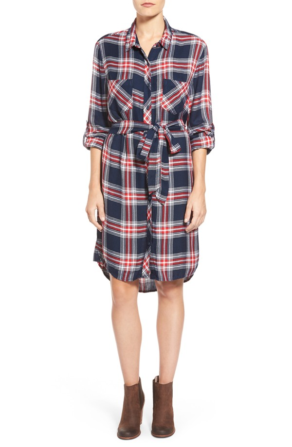 BeachLunch Lounge Belted Plaid Shirtdress