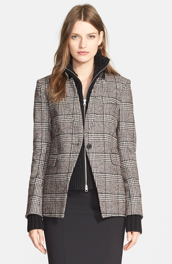Veronica Beard Plaid Jacket with Removable Dickey & Cuffs