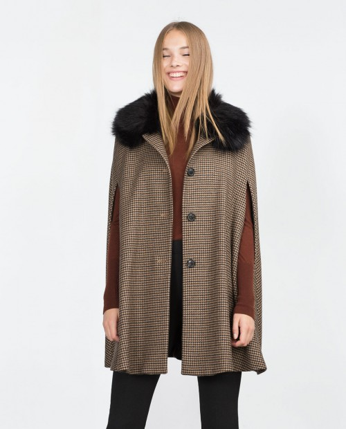 Zara Houndstooth Fur Collared Cape