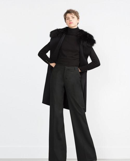 Zara Long Vest with Fur Collar