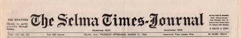 Selma Times, March 11, 1965, Top Strip