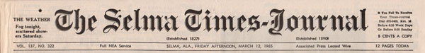 Selma Times, March 12, 1965, Cover top strip