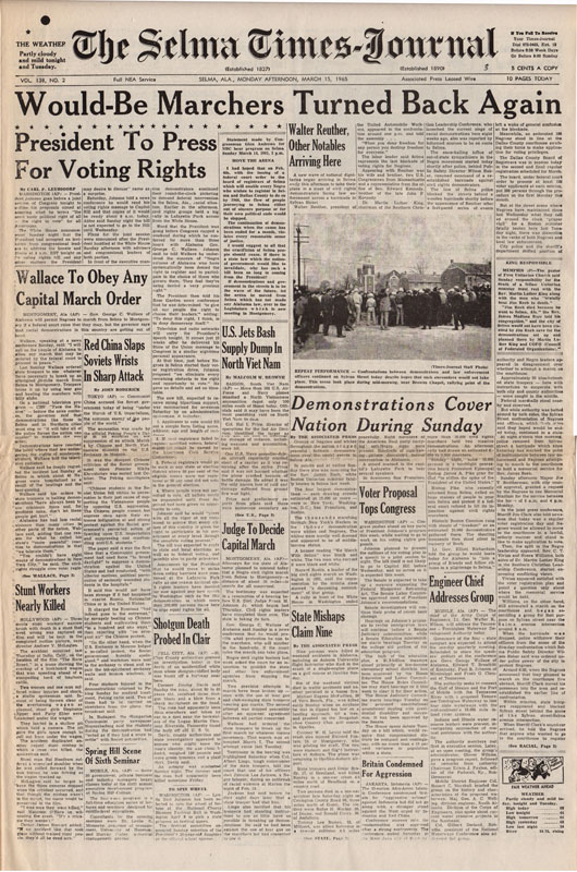 Selma Times, March 15, 1965 Cover Pg copy