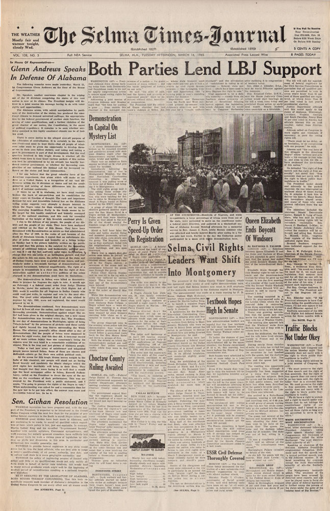 Selma Times, March 16, 1965 Cover Pg copy