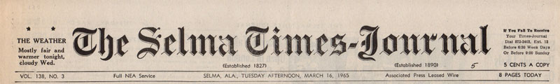 Selma Times, March 16, 1965 Cover Top Strip