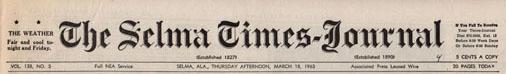 Selma Times, March 18, l965 Cover Top STrip