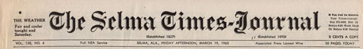 Selma Times, March 19, 1965 Cover Top Strip