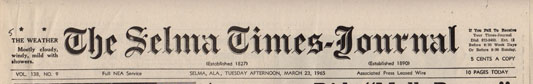 Selma Times, March 23, 1965 Top Strip