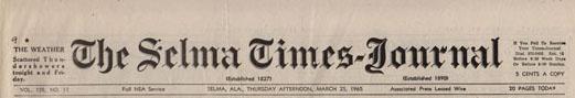 Selma Times, March 25, 1965, Top Strip
