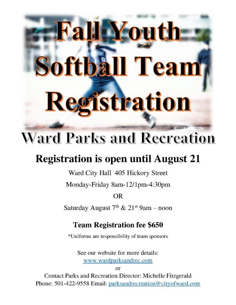 Fall Softball Youth, Team Registration