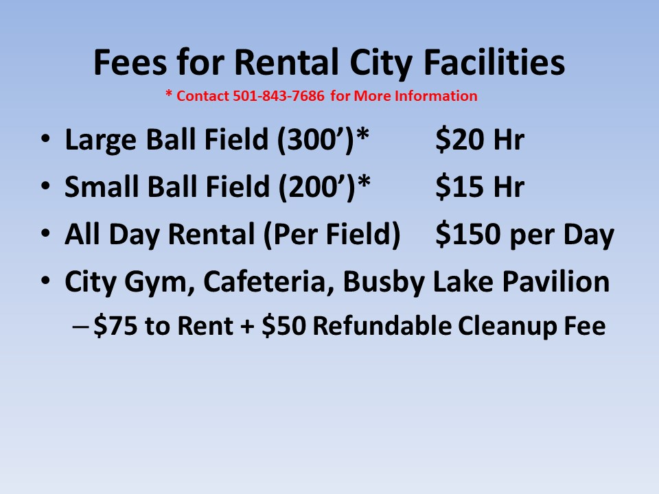 Fees for Rental City Facilities