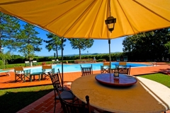 Gazebo and poolside dining table