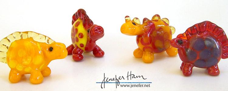 Glass dinosaurs by Jenefer Ham