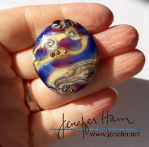 shimmers silver glass pendant by Jenefer Ham