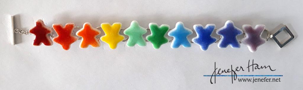 bracelet rainbows tinted meeples by Jenefer Ham