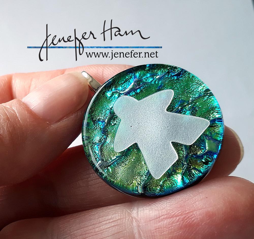 dichroic meeple pendant by Jenefer HAm