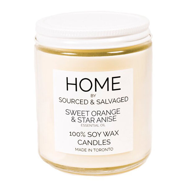Sourced and Salvaged Candles, sweet orange & star anise candle