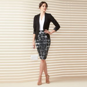 Apt. 9® Wear to Work Collection Look 9 at Kohl's Light Denim Columnist Ankle Pant at Express (Modern woman's business pencil skirt suit)