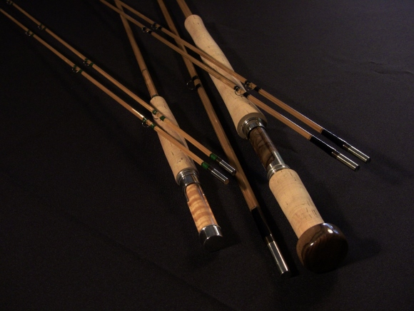 "7'  0""  4 wt medium-fast action two piece rod and a 10'  6""  5 wt 3 piece hollow-built switch rod."
