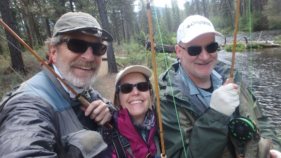 Kelli and Russ trying out my bamboo fly rods with me on the Metolius River