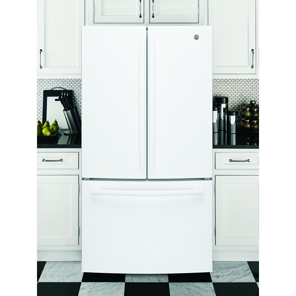 GE 26.7 Cu.Ft, French Door Refrigerator White- GNE27JGMWW