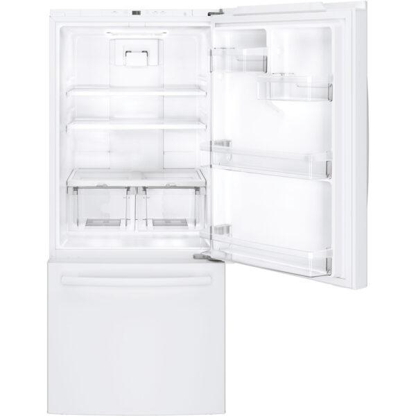 GE 20.9 cu.ft. Bottom Freezer Refrigerator White GDE21DGKWW