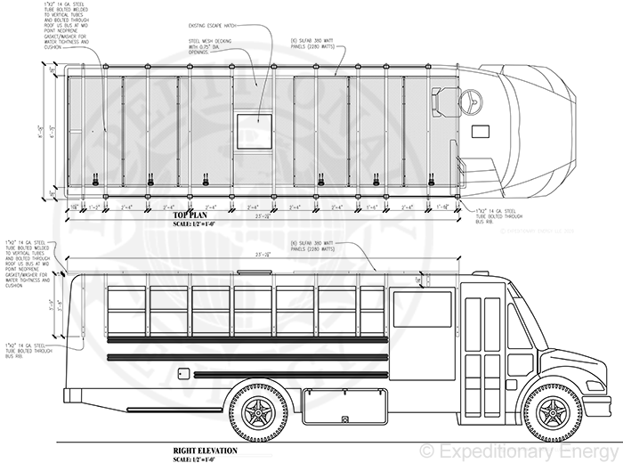 Top and side elevations of a bus with solar panel roof retrofit install.