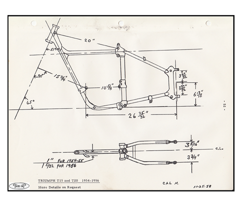 Triumph Pre Unit Twin, Tiger Cub and Ariel Motorcycle Frame Drawings