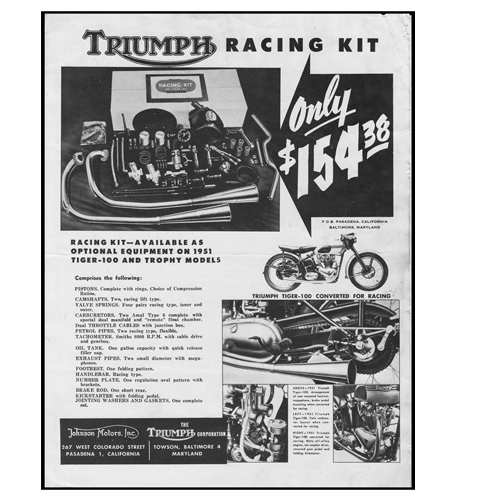 Triumph motorcycle racing kit