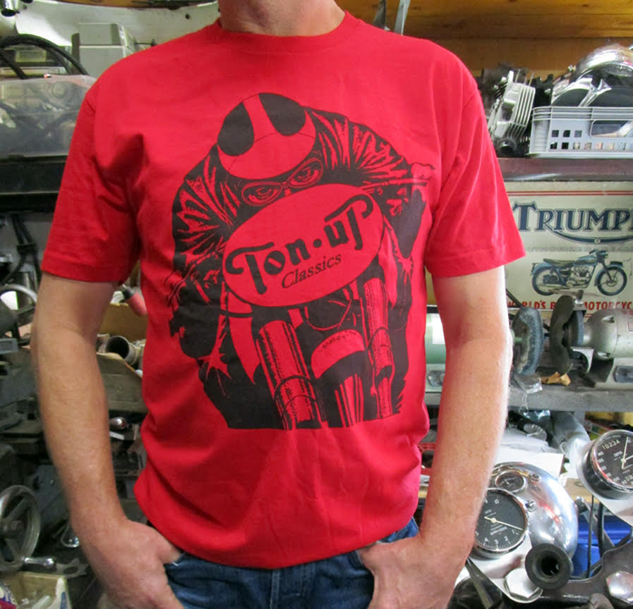 TON UP CLASSICS RED CAFE RACER T-SHIRT