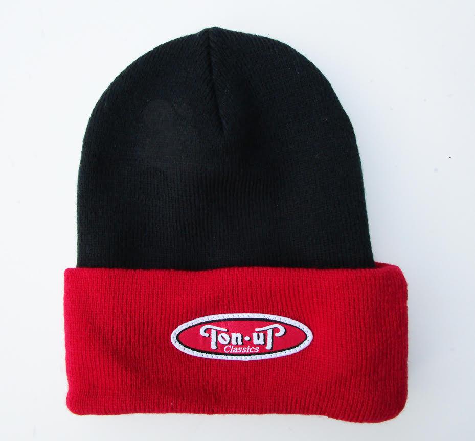 TON UP CLASSICS BEANIE (BLACK/RED)