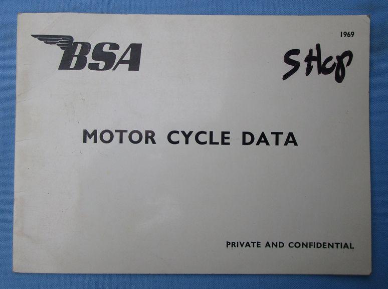 BSA MOTORCYCLE DEALER DATA BOOK 1969 A65 A50 B44 VICTOR B25 FIREBIRD ROCKET 3 - LITERATURE
